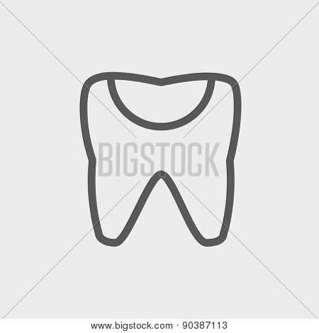 Broken tooth icon thin line for web and mobile, modern minimalistic flat design. Vector dark grey icon on light grey background.