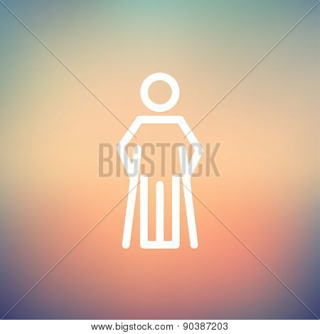 Injured man with crutches icon thin line for web and mobile, modern minimalistic flat design. Vector white icon on gradient mesh background.