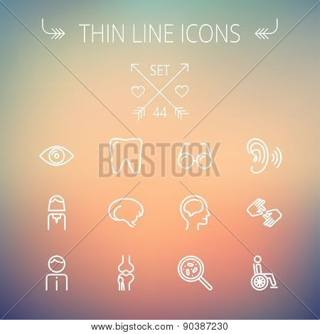 Medicine thin line icon set for web and mobile. Set includes- tooth, eye, ear, hands, bone, brain, human icons. Modern minimalistic flat design. Vector white icon on gradient mesh background.