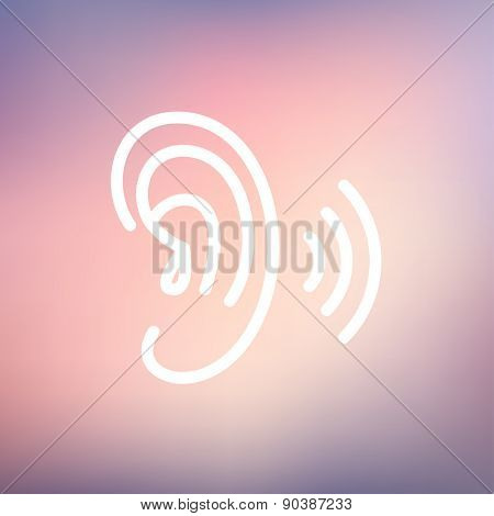 Ear icon thin line for web and mobile, modern minimalistic flat design. Vector white icon on gradient mesh background.
