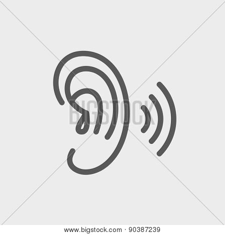 Ear icon thin line for web and mobile, modern minimalistic flat design. Vector dark grey icon on light grey background.
