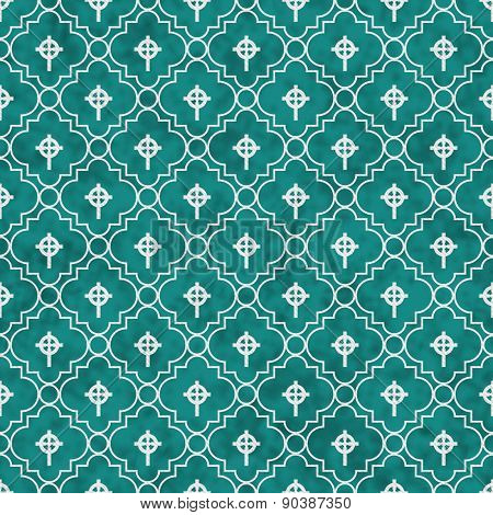 Teal And White Celtic Cross Symbol Tile Pattern Repeat Background