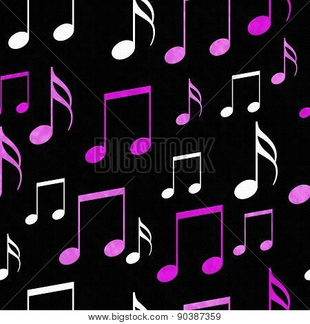 Pink, White And Black Music Notes Tile Pattern Repeat Background