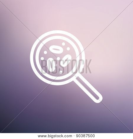 Microorganisms under magnifier icon thin line for web and mobile, modern minimalistic flat design. Vector white icon on gradient mesh background.