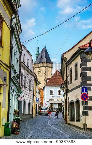 View on old street in Cesky Krumlov
