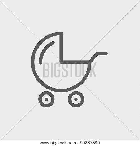 Baby stroller icon thin line for web and mobile, modern minimalistic flat design. Vector dark grey icon on light grey background.