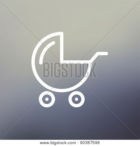 Baby stroller icon thin line for web and mobile, modern minimalistic flat design. Vector white icon on gradient mesh background.