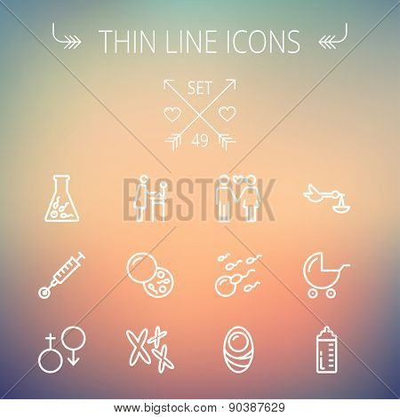 Medicine thin line icon set for web and mobile. Set includes- stroller, feeding bottle, egg and sperm cells, chromosomes, test tube, injection  icons. Modern minimalistic flat design. Vector white