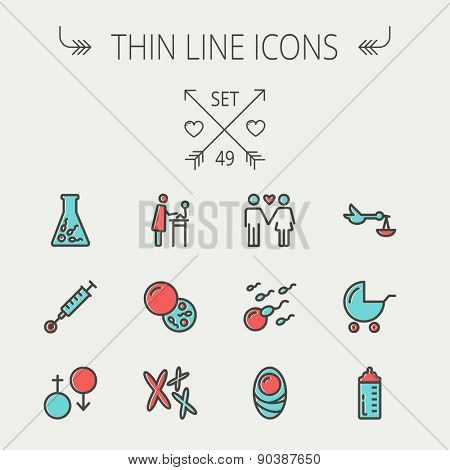 Medicine thin line icon set for web and mobile. Set include- stroller, feeding bottle, egg and sperm cells, chromosomes, test tube, injection icons. Modern minimalistic flat design. Vector icon with