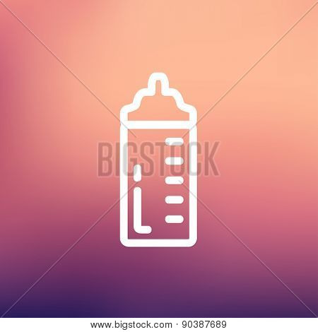 Feeding bottle icon thin line for web and mobile, modern minimalistic flat design. Vector white icon on gradient mesh background.