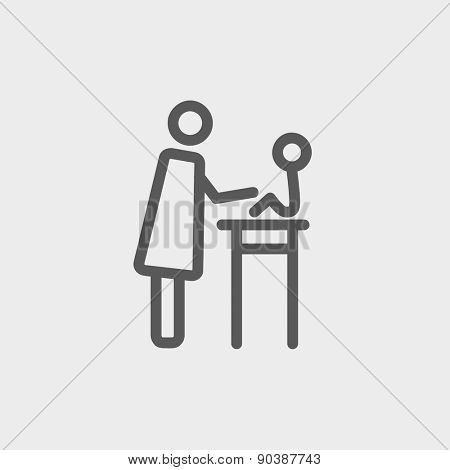 Mother taking care of her baby sitting on high chair icon thin line for web and mobile, modern minimalistic flat design. Vector dark grey icon on light grey background.