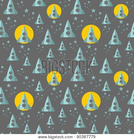 Seamless pattern with rocket in the space.