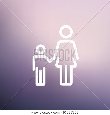 Mother and child icon thin line for web and mobile, modern minimalistic flat design. Vector white icon on gradient mesh background.