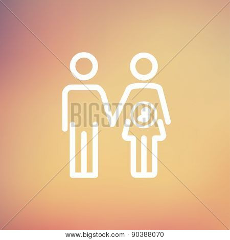 Husband with pregnant wife icon thin line for web and mobile, modern minimalistic flat design. Vector white icon on gradient mesh background.