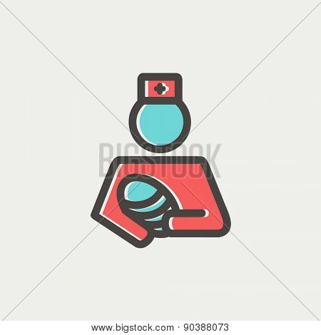 Nurse holding the baby icon thin line for web and mobile, modern minimalistic flat design. Vector icon with dark grey outline and offset colour on light grey background.