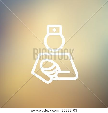 Nurse holding the baby icon thin line for web and mobile, modern minimalistic flat design. Vector white icon on gradient mesh background.