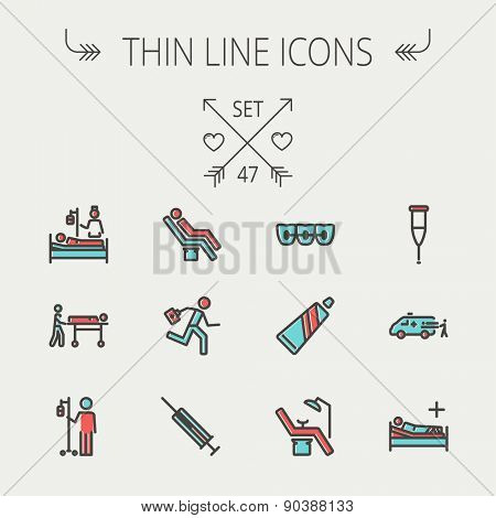 Medicine thin line icon set for web and mobile. Set include- teeth braces, toothpaste, dental chair, syringe, crutch, ambulance, patient, IV icons. Modern minimalistic flat design. Vector icon with