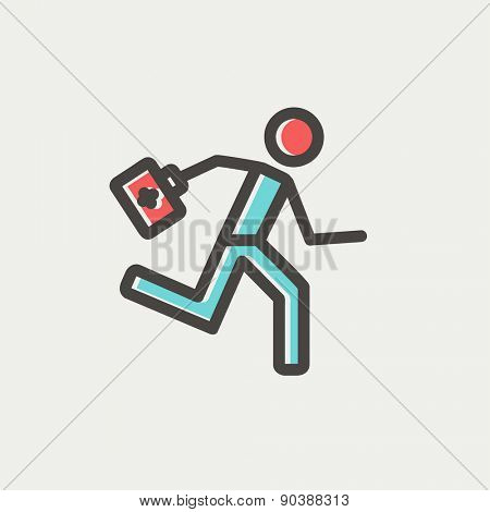 Paramedic running with first aid kit icon thin line for web and mobile, modern minimalistic flat design. Vector icon with dark grey outline and offset colour on light grey background.