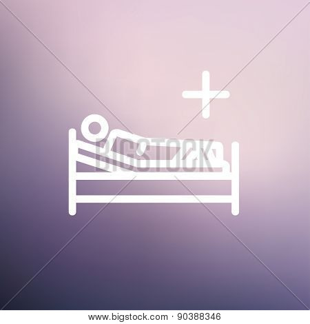 Patient is lying on medical bed icon thin line for web and mobile, modern minimalistic flat design. Vector white icon on gradient mesh background.