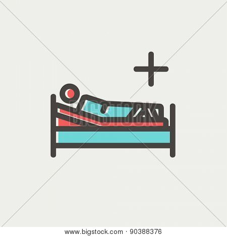 Patient is lying on medical bed icon thin line for web and mobile, modern minimalistic flat design. Vector icon with dark grey outline and offset colour on light grey background.
