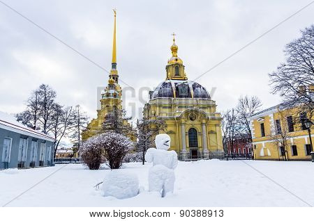 View On Snowman In Peter And Paul Fortress In Saint-petersburg