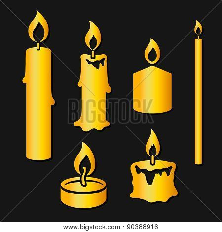 Set of gold silhouette burning candles