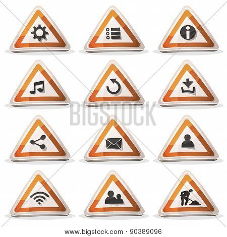 Road Sign Icons And Buttons For Ui Game
