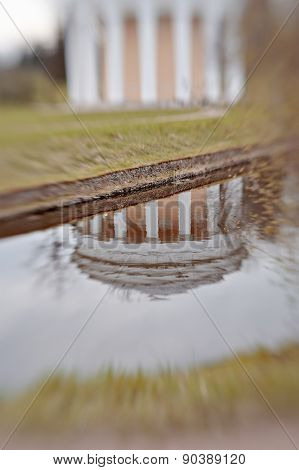 Reflection Of Temple Of Friendship In The Park Of Pavlovsk
