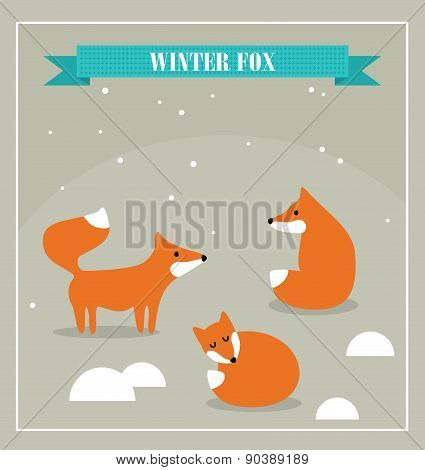 Set of cute little foxes in winter forest.