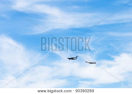 Air Refueling Of Strategic Bomber Airplane