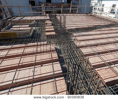 Reinforce Iron Cage Net For Built Building Floor.