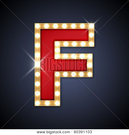 Vector illustration of realistic retro signboard letter F. Part of alphabet including special European letters.