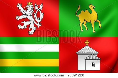 Flag Of Plzen Region, Czech Republic.