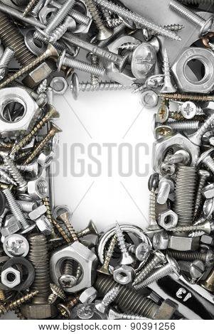 hardware tools on white background
