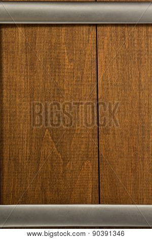 metal border on wooden background