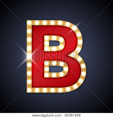 Vector illustration of realistic retro signboard letter B. Part of alphabet including special European letters.