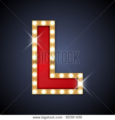 Vector illustration of realistic retro signboard letter L. Part of alphabet including special European letters.