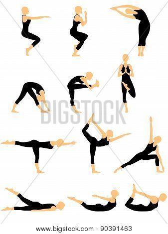Set Of Twelve Abstract Female Yoga Figures