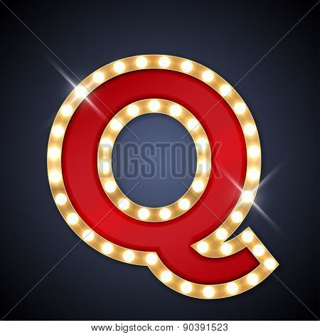 Vector illustration of realistic retro signboard letter Q. Part of alphabet including special European letters.