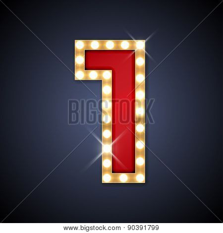 Vector illustration of realistic retro signboard number 1 (one). Part of alphabet including special European letters.