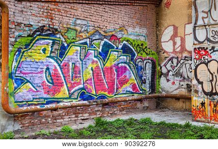 Abandoned Courtyard With Colorful Abstract Graffiti