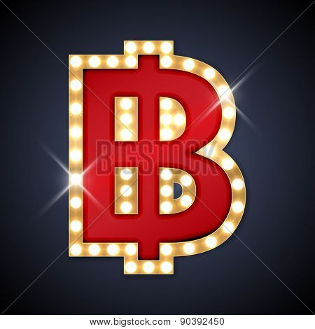 Vector illustration of realistic retro signboard letter P. Part of alphabet including special European letters.