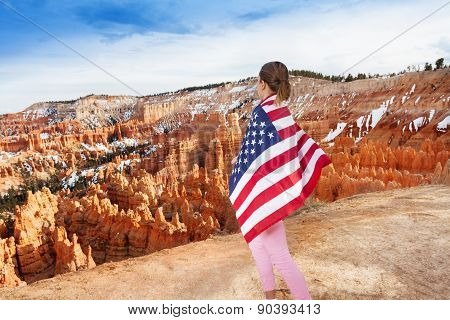 Woman with USA flag, Bryce Canyon National Park