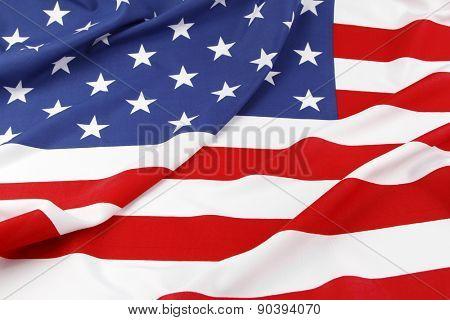Closeup of ruffled American flag