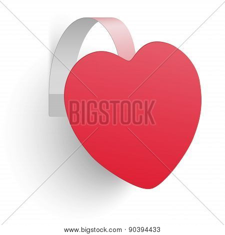 Advertising Wobbler Looking Like Heart Isolated On White Background