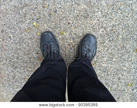 Business Black Trouser Of A Man Standing