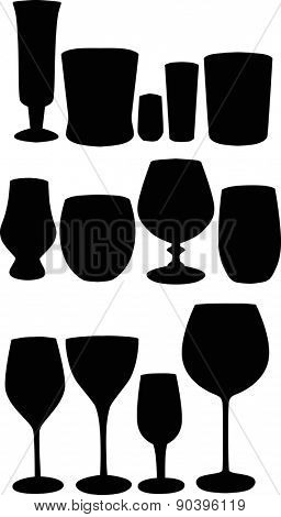 illustration with thirteen glass silhouettes isolated on white background