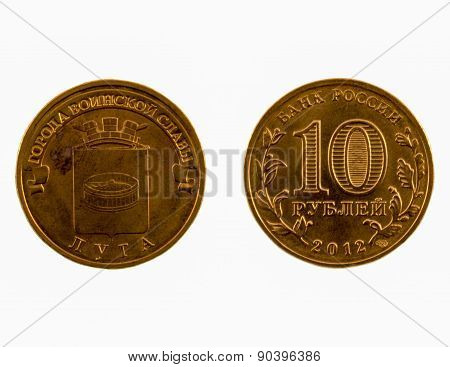 Russian Commemorative Coin Of 10 Rubles, Luga