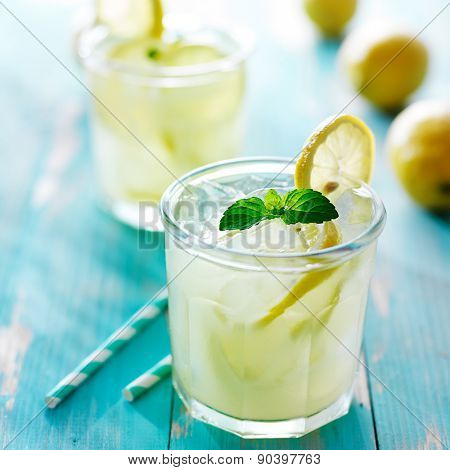 fresh ice cold lemonade with mint and lemon garnish