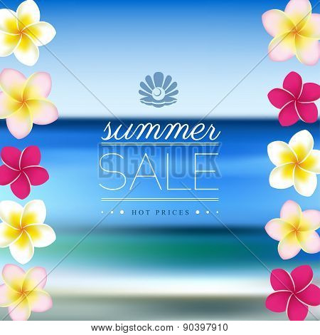 Summer Sale, blurred sea background with flowers